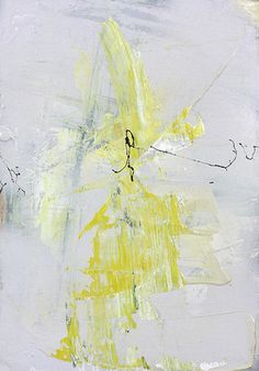 Abtract painting in yellow, gret, and black. This piece is a part of a series of 12, including Genetic Zest I-XII