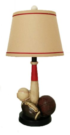 Creative Motion Industries Electrical Desk Sports Lamp with Football, Baseball, Soccer and Basketball on the base with a shade