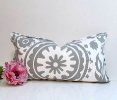 Gray Suzani Lumbar Pillow  Cover with Piping by supplierofdreams