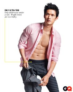 Glee's Harry Shum, Jr. - Layer It On Thick  Steal this trick from hockey players and lumberjacks...even if you're chained to a cubicle: Layer long johns under your suit. We like the breathable (and cheap) Heattech stuff from Uniqlo.    Shirt, $98 by Gant Rugger. Heattech long johns, $20 by Uniqlo. Pants (in hand), Gant by Michael Bastian.
