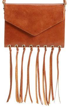 Hobo 'Maisy' Glazed Leather Fringe Crossbody Bag