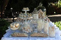 Perfect table setting for all white!!  Pretzels, sugar sticks, etc.