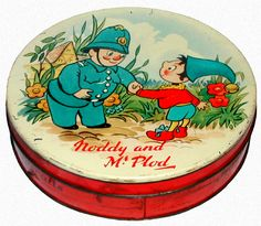 Noddy and Mr Plod Biscuit Tin Container: Huntley  Palmers (England), 1956