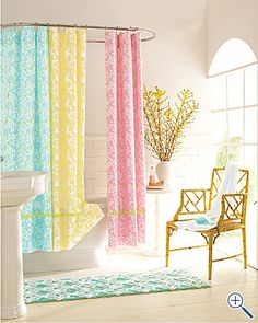 Lilly Pulitzer Shower Curtains - perfect for the girls' bathroom! Now which one to choose.... $88