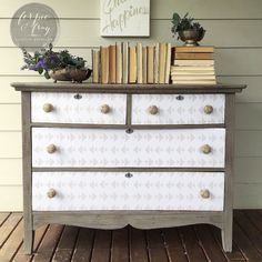 Dresser painted by Amanda of Ferpie and Fray in Driftwood (old fashioned milk paint co.) and Spoonflower paper.