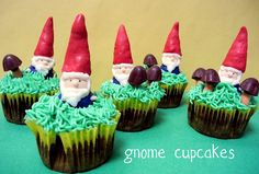 Gnome Cupcakes.  Gnomes made of bugles and hershey's chocolate bells covered in melting chocolate.  So easy and adorable!