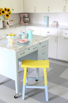 MONDAY MAKEOVER - DIPPED STOOLS - My Old Country HouseIsland- Benjamin Moore Gossamer Blue Cabinets : BM Mountain Peak White Floor: BM Tucker Gray and Coventry Gray