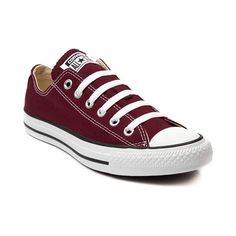 Find the classic Converse All Star Lo Sneaker at Journeys! Buy your new Converse Chuck Taylor All Star Lo Sneaker in Maroon Today! Galaxy Converse, Maroon Converse, Maroon Shoes, Converse Sneakers, Converse Chuck Taylor All Star, Suede Sneakers, Converse All Star, Chuck Taylor Sneakers, White Converse