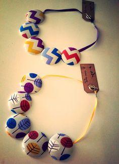 Organic fabric button necklace - by lovebudsbyamy on madeit