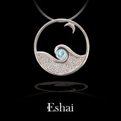 Moonglow Pendant in White Gold with Aquamarine and Diamonds