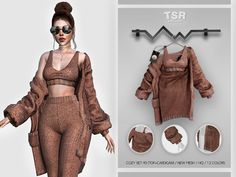 Sims 4 Cas Mods, Sims 4 Body Mods, Sims 4 Mods Clothes, Sims 4 Clothing, Clothing Sets, Female Clothing, Mode Outfits, Fashion Outfits, The Sims 4 Cabelos