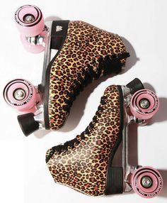 Pink + leopard = awesome to begin with. The fact that they're derby skates... DOUBLE awesome!