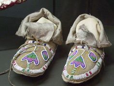 Ute Moccasins by mharrsch Native American Moccasins, Native American Clothing, Native American Artifacts, Native American Beadwork, Native American Indians, Indian Beadwork, Beaded Moccasins, Bead Loom Bracelets, American Indian Art