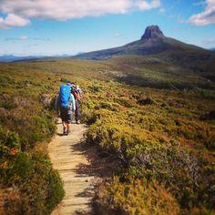 Hiking towards Barn Bluff on Tasmania's world-renowned Overland Track. Tasmania Hobart, Australia Travel, Hiking Trails, Cool Places To Visit, Wilderness, Kayaking, Adventure Travel, Travel Inspiration, National Parks