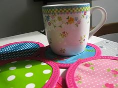 Coasters from oilcloth scraps