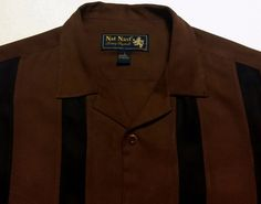 Nat Nast Luxury Originals Mens Silk Shirt Brown Black Stripe Short Sleeve Size L #NatNast #ButtonFrontCampSilkShirt