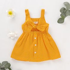 Polka Dot Bowknot Decor Sleeveless Dress * Polka dots pattern * Soft and cozy * Material: Cotton * Machine wash, tumble dry * Imported Kids Dress Wear, Toddler Girl Outfits, Toddler Girl Dresses, Little Girl Dresses, Kids Outfits, Baby Dresses, Dress Girl, Dot Dress, Family Outfits