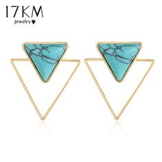 17KM Bohemian Stud Earrings Triangle Gold Color Double sided Blue Stone Earring 2017 New Fashion Jewelry For Women #Affiliate