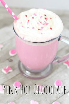 Celebrate Valentine's Day (or any cold winter day) with this creamy and delicious Pink Hot Chocolate. It takes strawberry milk up a notch! Pink Hot Chocolate: easy Valentine's Day recipe - Simple and Seasonal Valentines Day Food, Valentine Treats, Saint Valentine, Strawberry Milk, Pink Drinks, Winter Drinks, Food Stamps, Hot Chocolate Recipes, Yummy Drinks