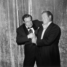 Marlon Brando and Bob Hope backstage at the Oscars.