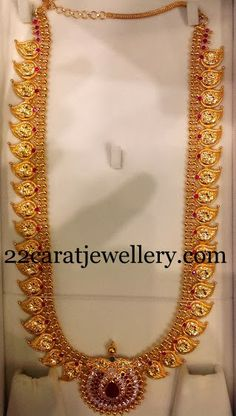 Jewellery Designs: 73 Grams Plain Haram in 22kt Gold