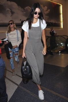 Kendall Jenner airport style. Suede overalls