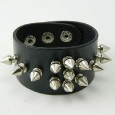 Faux Black Leather bracelet with spikes