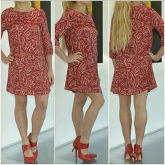 """🆕 Red Tunic Dress NWOT Red Tunic dress, features fun pattern with colors of blue, white and red. Pairs lovely with a denim jacket, booties and a floppy hat for your day trip or dress it up with heels, cinch at the waist with a belt, add a pair of sparkly earrings and you are ready for date night!  Brand new, no tags 2 Adorable ruffles on the bust area Tunic style. Approx 3/4 length sleeves Length of dress approx 32"""" Size MEDIUM  100% polyester Belt NOT included  **also available in small…"""