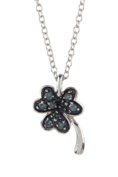 Pave Blue Diamond Palm Tree Pendant Necklace - 0.15 ctw. I would love this!