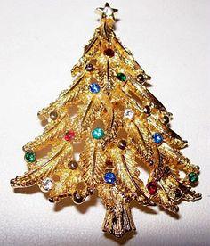 Christmas Tree Rhinestone Brooch Pin Multi by BrightgemsTreasures