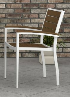 Euro Plastic Outdoor Armchair w White Aluminum Frame