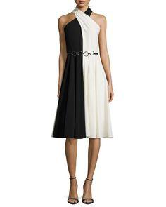 TBKXS Halston Heritage Sleeveless Crisscross-Neck Colorblock Dress, Black/Eggshell