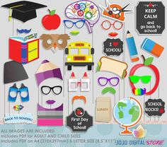 Back To School Photo Booth Props for First Day Party