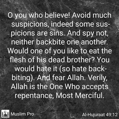 A Warning to FAMILY & FRIENDS...Especially WOMEN FOLK...who love bad mouthing... Backbiters will be given to eat the flesh of their dead brothers...How many of us want that in the HEREAFTER. What is backbiting ? Answer - Gheebah or backbiting means speaking about a Muslim in his absence and saying things that he would not like to have spread around or mentioned. Buhtan or slander means saying things about a Muslim that are not true or in other words telling lies about him. Nameemah or…
