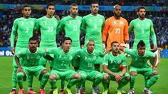 Algeria players pose for a team photo during the 2014 FIFA World Cup Brazil Round of 16 match between Germany #GER and Algeria #ALG