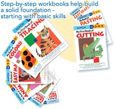 My First Kumon Workbooks - I use these from age 2 or 3 to teach cutting, sticking and colouring skills, and also pre-writing skills with the tracing book for my 4 year olds. They LOVE these books! We use the older (age 4-6) cutting and pasting books, and the maze books, for continued practice. These are GREAT books!