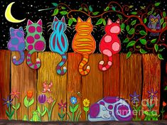 Moonlighting Collectively Artwork Print by Nick Gustafson - .- Moonlighting Collectively Artwork Print by Nick Gustafson – Print …, Diy And Crafts, Crafts For Kids, Arts And Crafts, Art Projects, Projects To Try, Diy Bird Feeder, Garden Crafts, Yard Art Crafts, Whimsical Art
