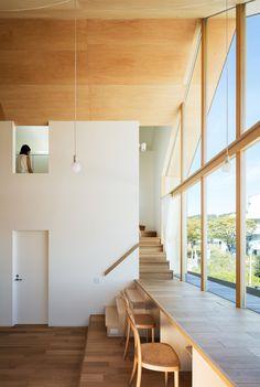 Maison Newtown à Kyoto par Kohei Yukawa + Hiroto Kawaguchi – Design. Newtown House in Kyoto by Kohei Yukawa + Hiroto Kawaguchi – Design. Japanese Interior Design, Home Interior Design, Interior And Exterior, Modern Home Design, Minimal House Design, Modern Japanese Architecture, Eclectic Design, Interior Modern, Luxury Interior