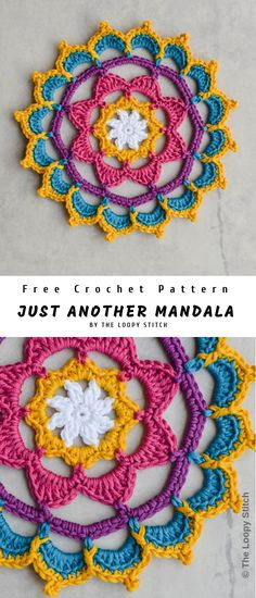 This is Another Mandala has been created and updated by THE LOOPY STITCH site. There was used 5 colours of DMC Natura Cotton and mm hook. This little mandala is made up of 10 rounds using standing stitches and invisible joins, like … Crochet Dreamcatcher Pattern Free, Motif Mandala Crochet, Crochet Circles, Crochet Motifs, Crochet Geek, Crochet Crafts, Crochet Doilies, Crochet Flowers, Crochet Projects
