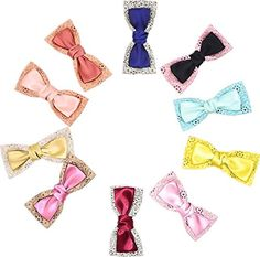 Colorful 3.3' bow-knot hair clip set of 10, alligator clip >>> Read more  at the image link.