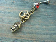 ohm buddha belly ring om buddah meditation in RED by gildedingypsy
