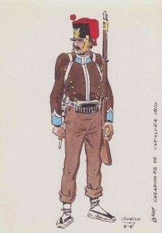 Battalion of Cazadores de Cataluna 1810. Postcard by J. Bueno