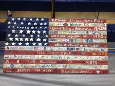 Blessed Sacrament 8th grade auction project. This 3ft by 5ft flag was so fun to do. The kids were put into groups and asked to draw/paint anything that made them think of America on a board. Love it!!