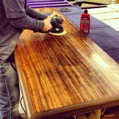Polishing Bubinga and Walnut counter for custom home bar. #festool #wood #walnut #woodworking #sanding #polish #wax #mothers #bubinga #epoxy #bar #handmade