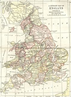 """A literary map of England - it was prepared by professor William Lyon Phelps, and published in 1899 in """"English Literature"""" by William J. Long."""