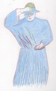 prete ad ustica. anni '20. pastelli colorati.