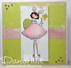 """Uptown Girl: Bunny & Her Daffodil"" a Stamping Bella Card by Dana White (Dana's House of Cards)"