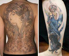 Amazing Alphonse Mucha art nouveau tattoos