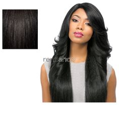 Empress Lace Front Edge Custom Lace Perm Wedge - Color 1B - Synthetic (Curling Iron Safe) Stocking Cap Custom Lace Wig - Closed Invisible Part
