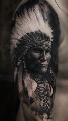 25 Mind-blowing Portrait Tattoos For Men Body Placement Tips Indian Chief Tattoo, Native Indian Tattoos, Indian Girl Tattoos, Indian Skull Tattoos, Native American Tattoos, Native American Artwork, Indian Head Tattoo, Indian Headdress Tattoo, Portrait Tattoo Sleeve